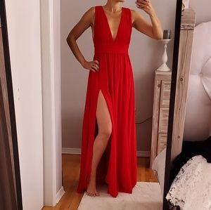 Lulu's Red Chiffon Gown